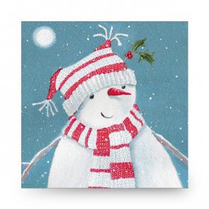 Mini Christmas Card Moonlight Snowman