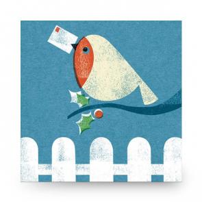 Christmas Card Robin Stamp
