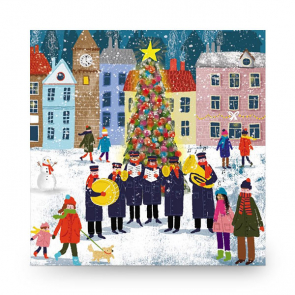 Christmas Card Brass Band by the Tree